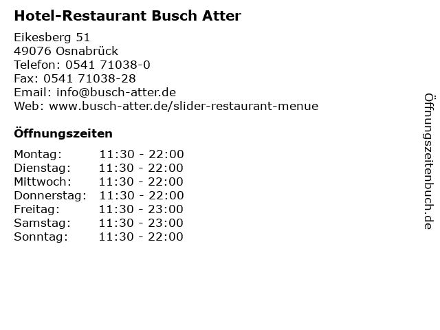 Hotel-Restaurant Busch Atter in Osnabrück: Adresse und Öffnungszeiten