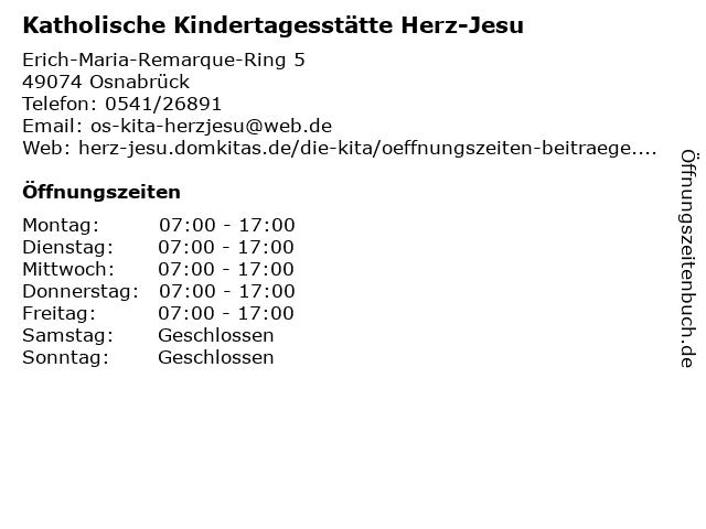 Katholische Kindertagesstätte Herz-Jesu in Osnabrück: Adresse und Öffnungszeiten