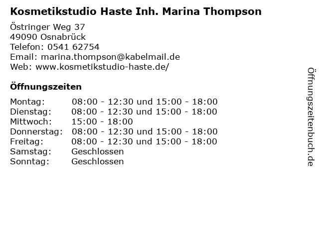 Kosmetikstudio Haste Inh. Marina Thompson in Osnabrück: Adresse und Öffnungszeiten