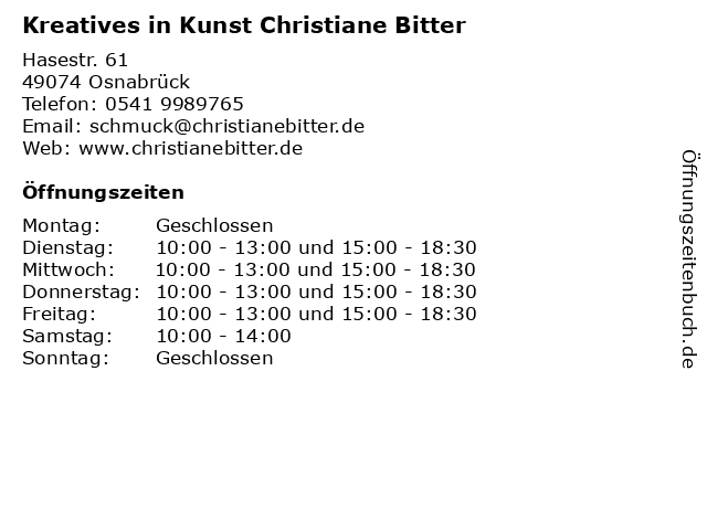 Kreatives in Kunst Christiane Bitter in Osnabrück: Adresse und Öffnungszeiten