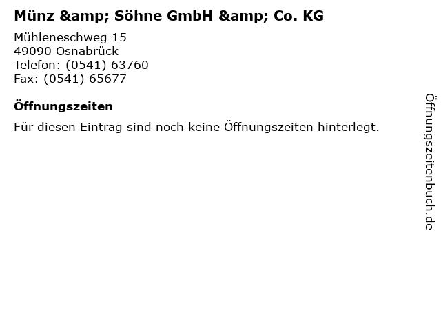ᐅ öffnungszeiten Münz Söhne Gmbh Co Kg Mühleneschweg 15 In