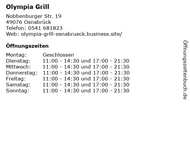 ᐅ öffnungszeiten Olympia Grill Nobbenburger Str 19 In Osnabrück