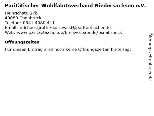 Paritätischer Wohlfahrtsverband Niedersachsen e.V. in Osnabrück: Adresse und Öffnungszeiten