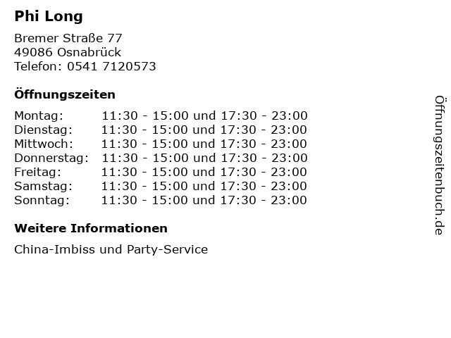 Phi Long in Osnabrück: Adresse und Öffnungszeiten