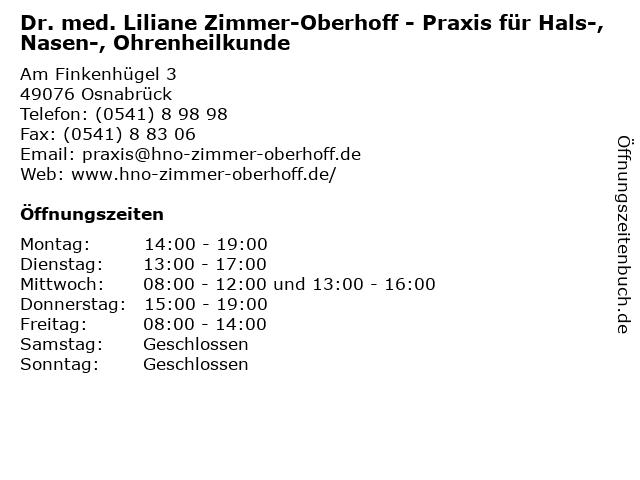 Praxis für Hals-, Nasen-, Ohrenheilkunde Dr. med. Liliane Zimmer-Oberhoff in Osnabrück: Adresse und Öffnungszeiten