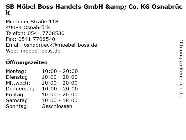 ᐅ öffnungszeiten Sb Möbel Boss Handels Gmbh Co Kg Osnabrück