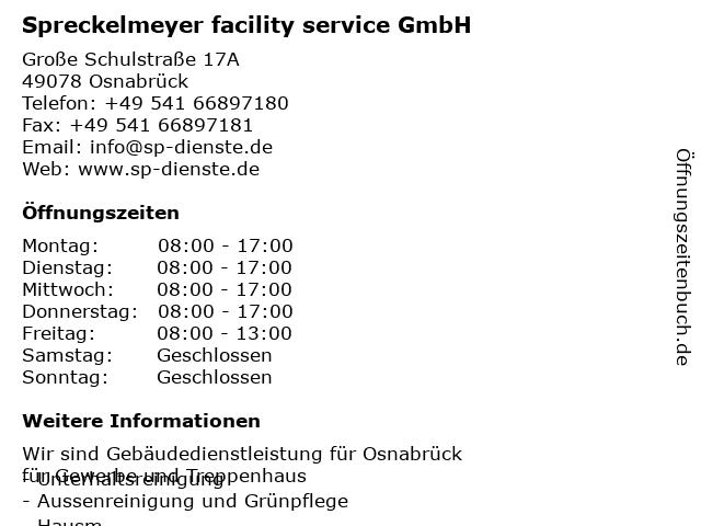 Spreckelmeyer facility service GmbH in Osnabrück: Adresse und Öffnungszeiten