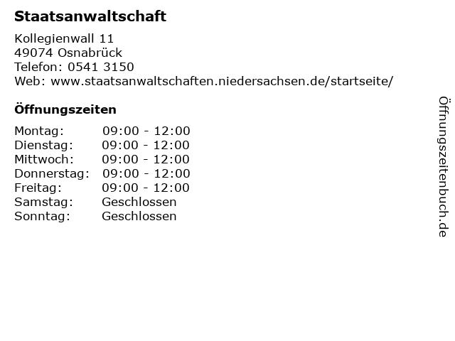 Staatsanwaltschaft in Osnabrück: Adresse und Öffnungszeiten