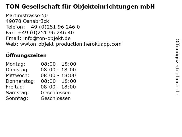 TON Gesellschaft für Objekteinrichtungen mbH in Osnabrück: Adresse und Öffnungszeiten