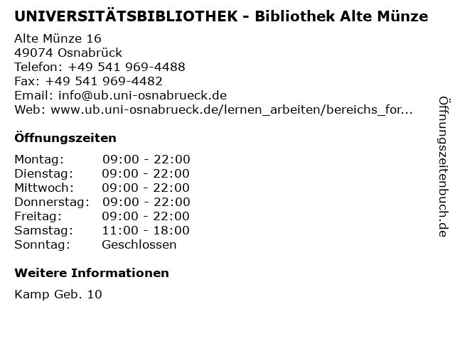 ᐅ öffnungszeiten Universitätsbibliothek Bibliothek Alte Münze