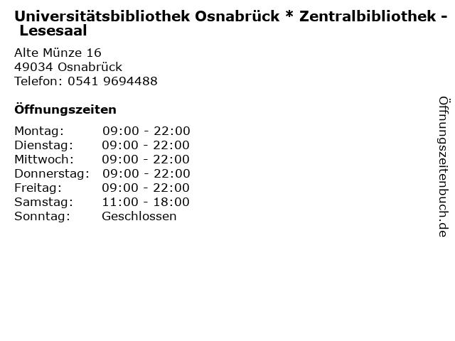 ᐅ öffnungszeiten Universitätsbibliothek Osnabrück