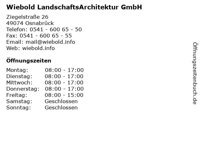 Wiebold LandschaftsArchitektur GmbH in Osnabrück: Adresse und Öffnungszeiten