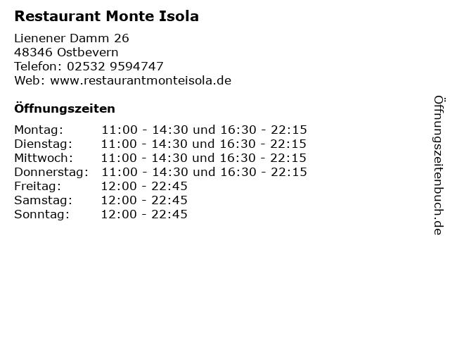 Restaurant Monte Isola in Ostbevern: Adresse und Öffnungszeiten