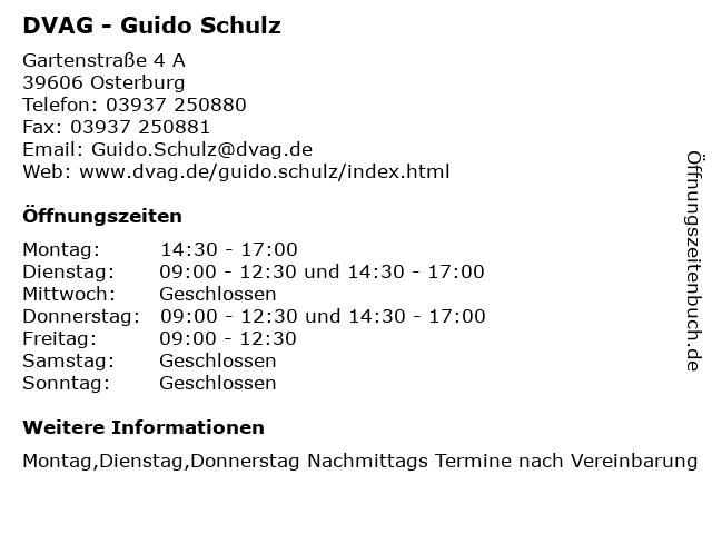 DVAG - Guido Schulz in Osterburg: Adresse und Öffnungszeiten