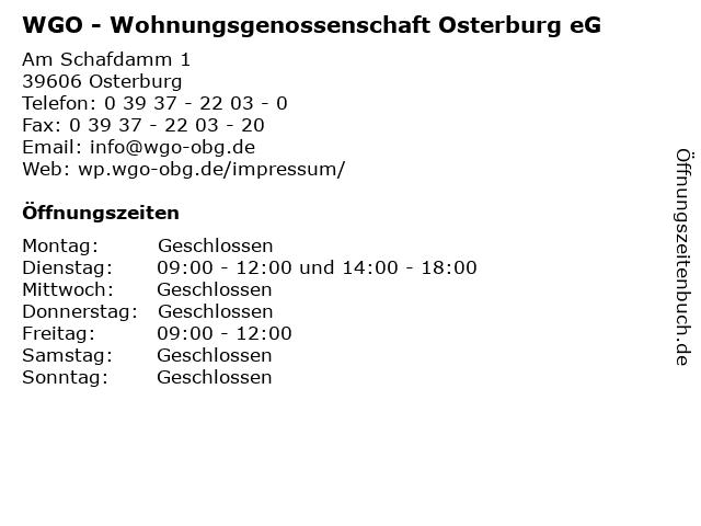 WGO - Wohnungsgenossenschaft Osterburg eG in Osterburg: Adresse und Öffnungszeiten