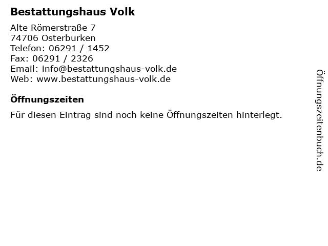 Bestattungshaus Volk in Osterburken: Adresse und Öffnungszeiten