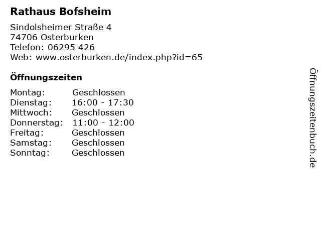 Rathaus Bofsheim in Osterburken: Adresse und Öffnungszeiten