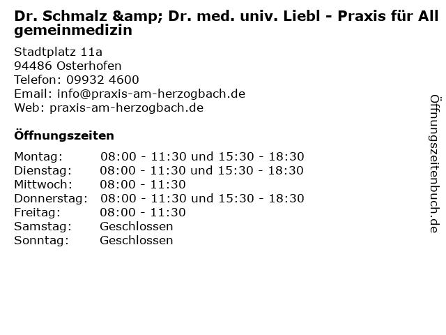 Dr. med. univ. Ludwig Liebl (Praktischer Arzt) in Osterhofen: Adresse und Öffnungszeiten