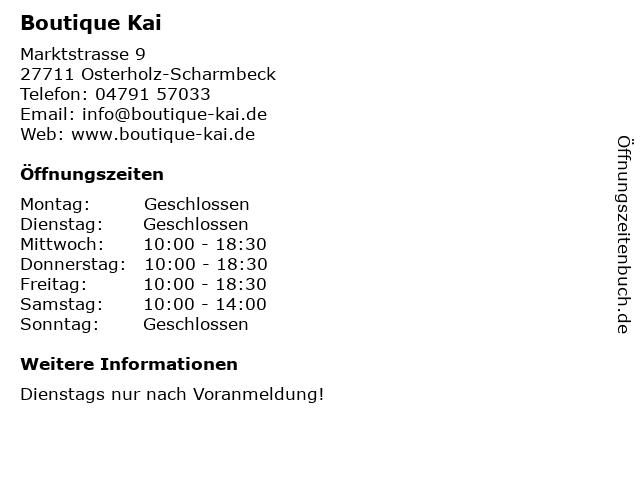 Boutique Kai GbR in Osterholz-Scharmbeck: Adresse und Öffnungszeiten