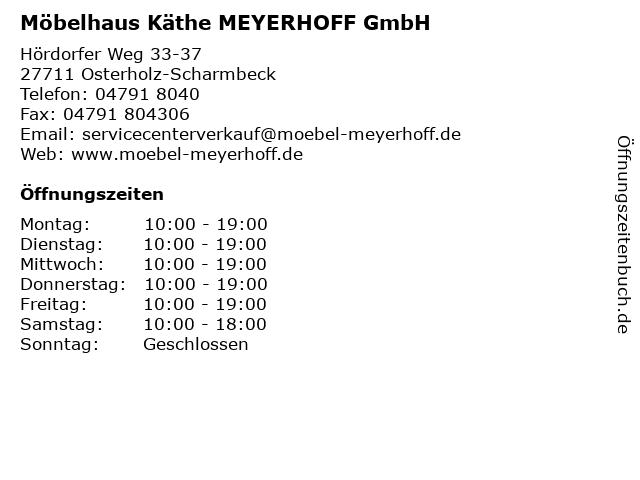 ᐅ Offnungszeiten Mobelhaus Kathe Meyerhoff Gmbh Hordorfer Weg