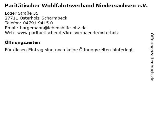 Paritätischer Wohlfahrtsverband Niedersachsen e.V. in Osterholz-Scharmbeck: Adresse und Öffnungszeiten