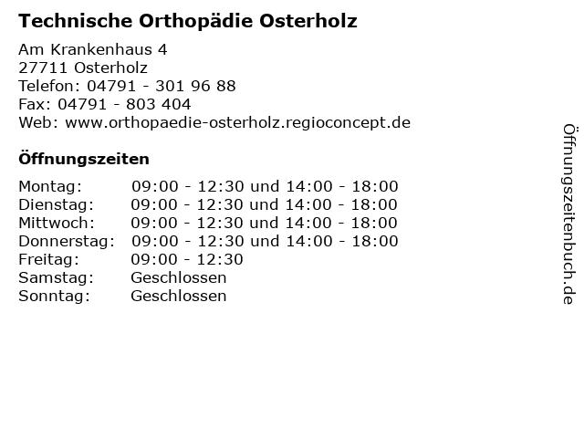 Technische Orthopädie Osterholz in Osterholz: Adresse und Öffnungszeiten