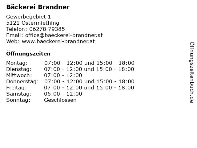 Bäckerei Brandner in Ostermiething: Adresse und Öffnungszeiten
