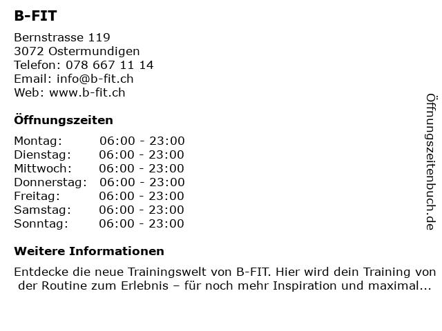 B-Fit in Ostermundingen: Adresse und Öffnungszeiten
