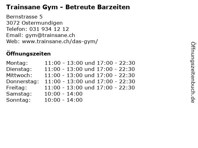 Trainsane Gym - Betreute Barzeiten in Ostermundigen: Adresse und Öffnungszeiten