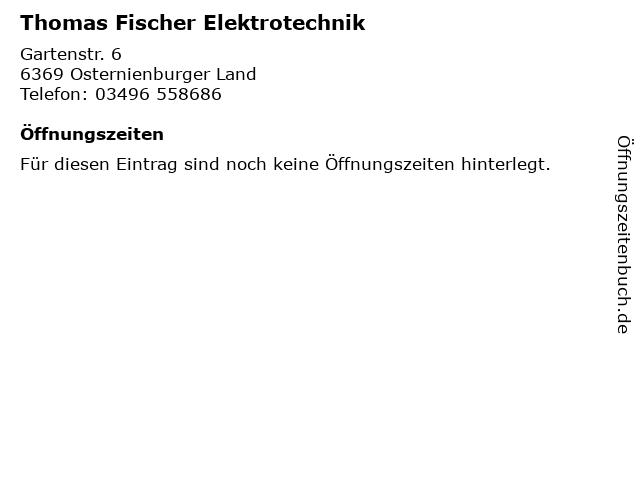 Thomas Fischer Elektrotechnik in Osternienburger Land: Adresse und Öffnungszeiten