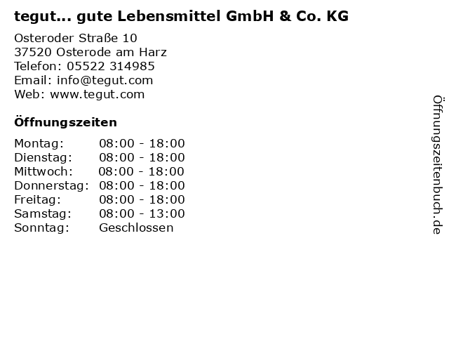 tegut... gute Lebensmittel GmbH & Co. KG in Osterode am Harz: Adresse und Öffnungszeiten