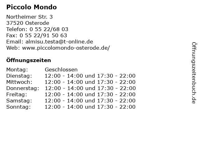 Piccolo Mondo in Osterode: Adresse und Öffnungszeiten