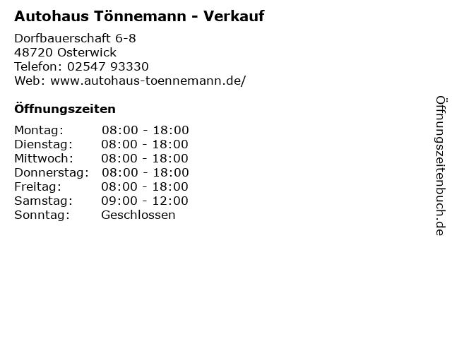 Autohaus Tönnemann - Verkauf in Osterwick: Adresse und Öffnungszeiten