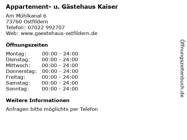 Appartement- u. Gästehaus Kaiser in Ostfildern: Adresse und Öffnungszeiten