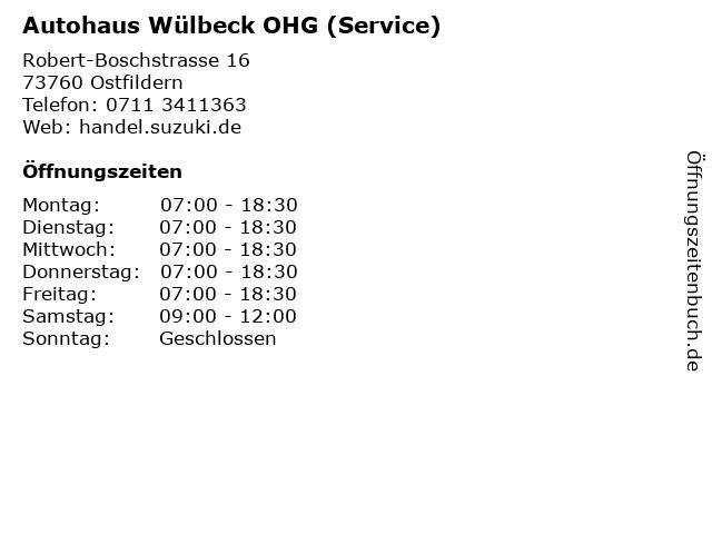 Autohaus Wülbeck OHG (Service) in Ostfildern: Adresse und Öffnungszeiten
