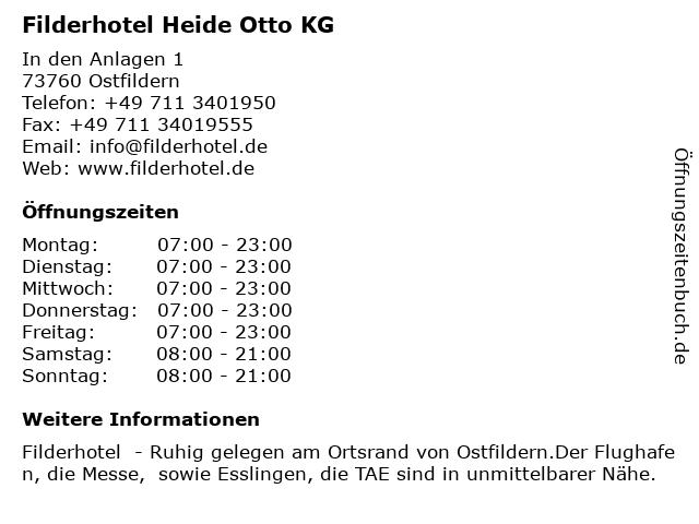 Filderhotel Heide Otto KG in Ostfildern: Adresse und Öffnungszeiten