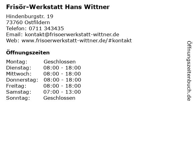 Frisör-Werkstatt Hans Wittner in Ostfildern: Adresse und Öffnungszeiten