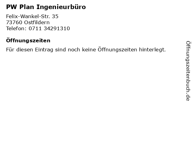 PW Plan Ingenieurbüro in Ostfildern: Adresse und Öffnungszeiten