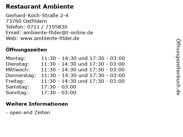 Restaurant Ambiente in Ostfildern: Adresse und Öffnungszeiten
