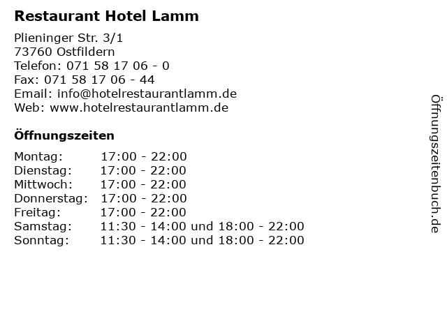 Restaurant Hotel Lamm in Ostfildern: Adresse und Öffnungszeiten