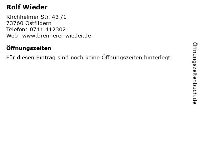 Rolf Wieder in Ostfildern: Adresse und Öffnungszeiten