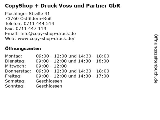 CopyShop + Druck Voss und Partner GbR in Ostfildern-Ruit: Adresse und Öffnungszeiten