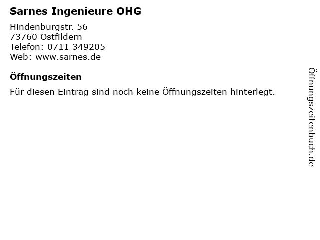 Sarnes Ingenieure OHG in Ostfildern: Adresse und Öffnungszeiten