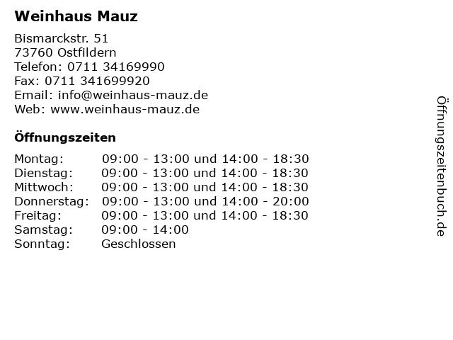 Weinhaus Mauz in Ostfildern: Adresse und Öffnungszeiten