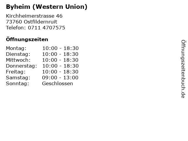 Byheim (Western Union) in Ostfildernruit: Adresse und Öffnungszeiten