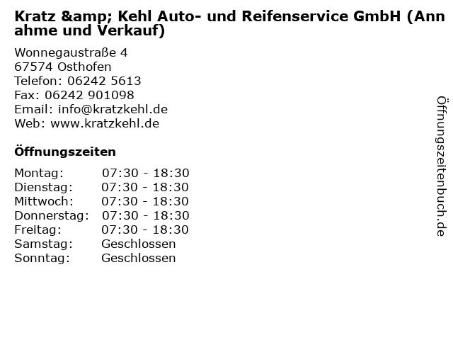Kratz & Kehl Auto- und Reifenservice GmbH (Annahme und Verkauf) in Osthofen: Adresse und Öffnungszeiten