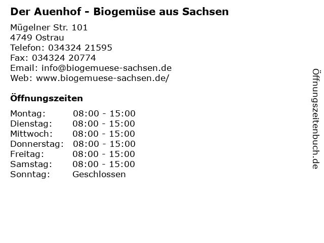 Der Auenhof - Biogemüse aus Sachsen in Ostrau: Adresse und Öffnungszeiten