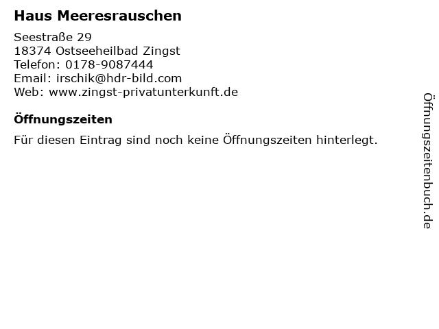 Haus Meeresrauschen in Ostseeheilbad Zingst: Adresse und Öffnungszeiten