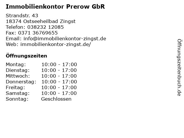 Immobilienkontor Prerow GbR in Ostseeheilbad Zingst: Adresse und Öffnungszeiten