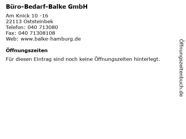 ᐅ Offnungszeiten Buro Bedarf Balke Gmbh Am Knick 10 16 In